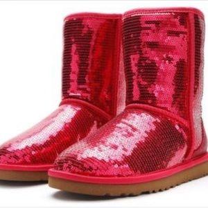 NWOT UGG classic short red sequin